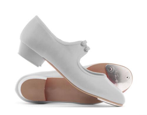 Girls Ladies White PU Low Heel Tap Dance Shoes All Sizes By Katz Dancewear