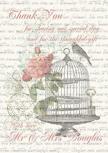 Personalised Shabby Chic Birdcage Wedding Thank You Cards Packs Of