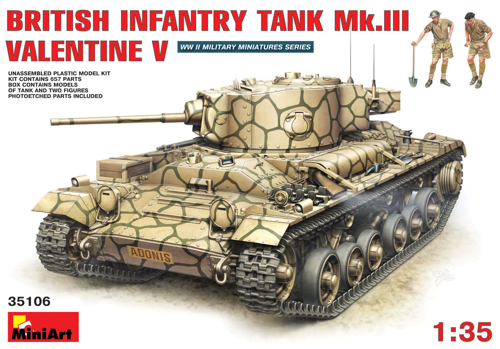 British Infantry Tank Mk.3 Valentine Mk. 5 Miniart 1 35 Kit MIN35106