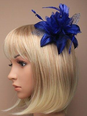 Dusky Pink Lily Flower with Feather glitter Polka dots comb Headpiece Fascinator