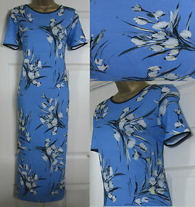 NEW-M-amp-S-Midi-Jersey-Dress-Summer-Holiday-Casual-Floral-Blue-White-Black-8-20