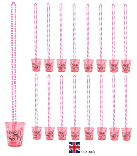 """12 x /""""L/"""" HEN PARTY SHOT GLASS GLASSES Night Do Accessories Necklace Pink Lot UK"""