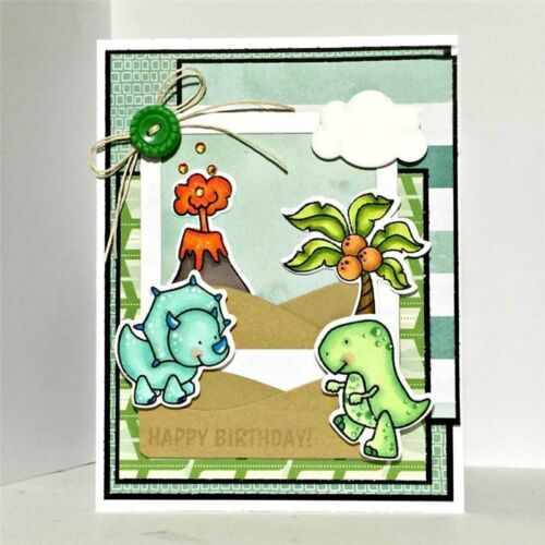 Clear Stamp Dinosaur Coconut Cutting Dies Crafts Embossing Scrapbooking Stencil