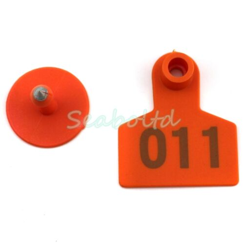 100Pcs Orange Goat Sheep Pig Cattle Beef Plastic Livestock Ear Tag Number Tags
