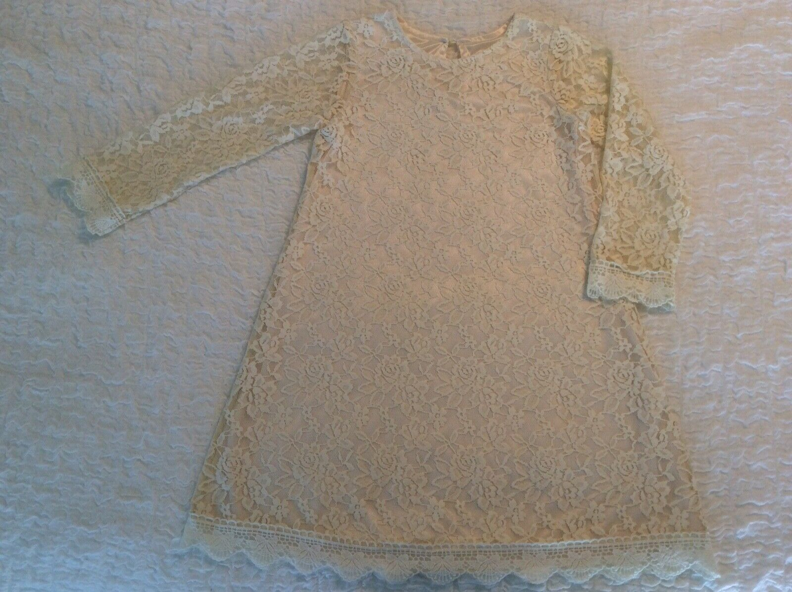 Bow Dream Lace Girls Sz 8 Formal Dress with Illusion Sleeves SHIPS FREE