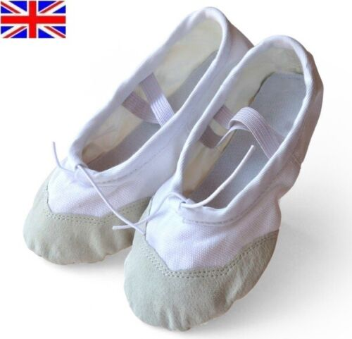 UK Stock Free P/&P NEW Canvas Ballet Dance Flat Shoes for Childs Adults Girls