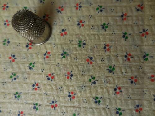 Vintage Cotton Seersucker Fabric 43W Ditsy Buttercream Flowers Dots Dolls Bears