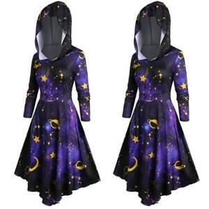 Womens Gothic Hooded Galaxy Print Retro Long Pullover Sweatshirt Madi Robe Dress Ebay