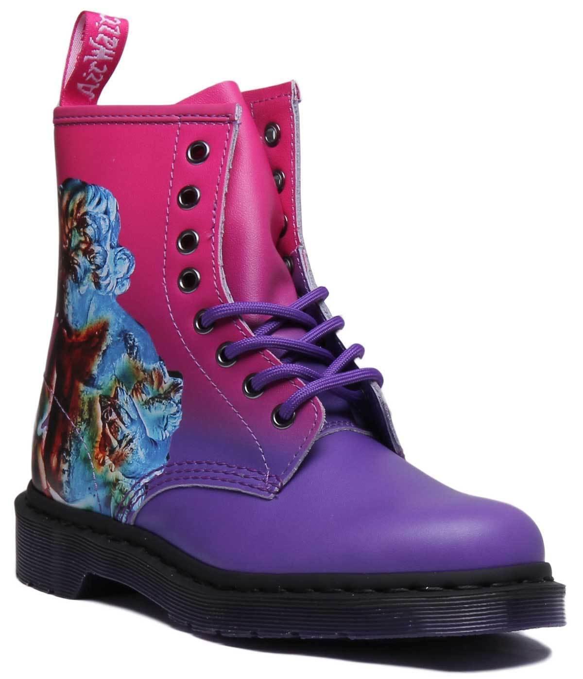 Dr Martens 1460 técnica técnica 1460 de cuero para mujer rosadodo púrpura botas al Tobillo tamaño de Reino Unido 3 - 8 8a87b9