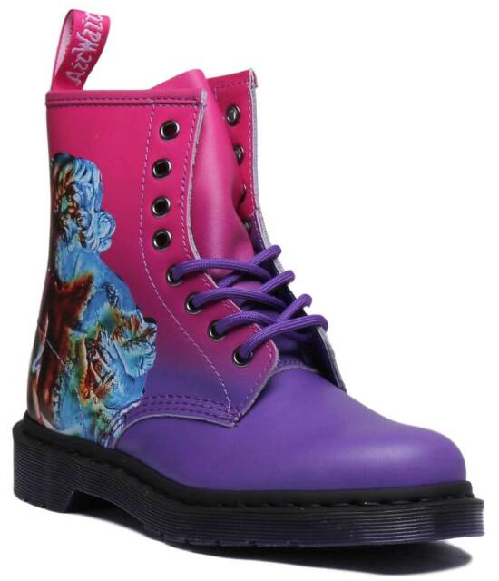 Dr Martens 1460 Technique Womens Leather Ankle Boots Pink Purple Size UK 3 8