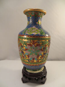 Vintage Chinese Cloisonne Enamel on Metal Vase Flowers China 6 1/8""
