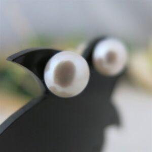 Ohrstecker-18Kt-750er-Gelbgold-Echte-Perlen-9-5-10mm-Weiss-Boutonform-Angebot