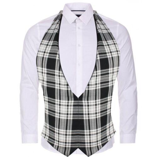 Black /& White Erskine Tartan Backless Waistcoat Scottish Fancy Dress Accessory