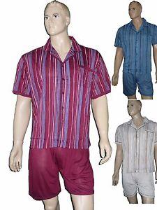 18574a9ed6 2-er Pack Herren Shorty kurz zum knöpfen Schlafanzug Pyjama Gr. M ...