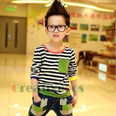 Fashion Kids Toddlers Boys Girls Striped 100% Cotton Tops T-Shirt Base Shirt New