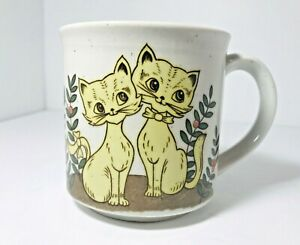 Vintage-Yellow-Cat-Kitty-In-Love-Stoneware-Coffee-Cup-Mug-Otagiri-Brown-Speckle