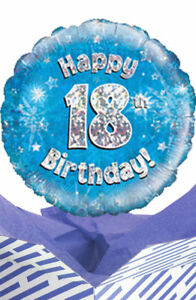 Image Is Loading 18th Birthday Blue Balloon In A Box Gift