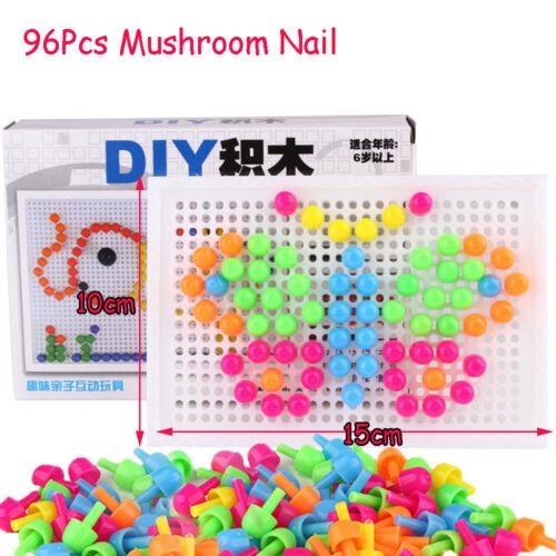DIY Kids Gift Creative Puzzle Toy Mosaic Picture Peg Board Mushroom Nail Kit