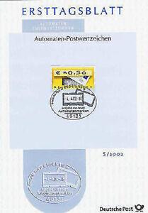 Brd 2002: Automatenmarke Nr Essener Stempel 1706 5 Auf Ersttagsblatt S/2002