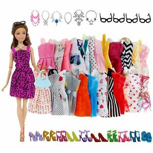 32-Pack-Barbie-Doll-Clothes-Party-Gown-Outfits-Shoes-Glasses-Necklaces-for-Girls