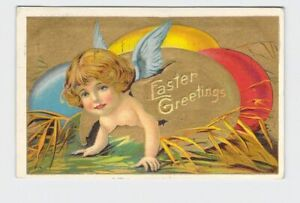 ANTIQUE-POSTCARD-EASTER-ANGEL-CRAWLS-OUT-OF-EGG-GOLD-EMBOSSED