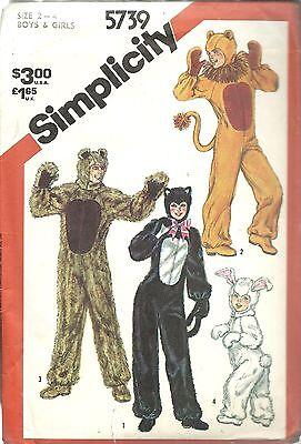Simplicity 9983 CHILD SIZE ONLY Costume Cat Lion Bear Rabbit Pattern UNCUT FF