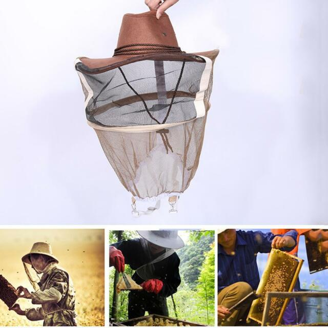 Beekeeping Beekeeper Hat Mosquito Bee Insect Net Veil Face Head Protector Cowboy