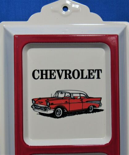 /'57 Chevy ~ Advertising Thermometer ~ Embossed Tin ~ Cream Background