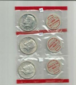 1968 1969 1970 D 40/% Silver  Kennedy Half Dollars BU Mint Cello Set Run 3 Coins