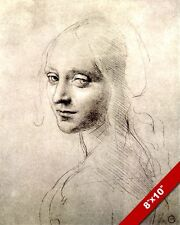 LEONARDO DA VINCI SKETCH PAINTING FACE OF BEAUTIFUL WOMAN REAL CANVAS ART PRINT
