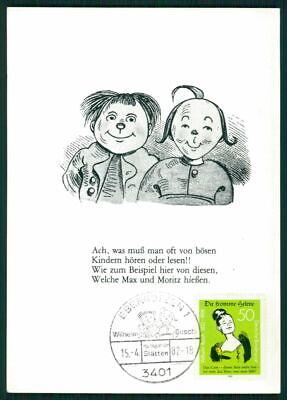 Gehorsam Brd Mk 1982 Wilhelm Busch Max & Moritz EbergÖtzen Maximumkarte Maxi Card Mc Ei40