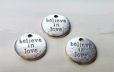 Quote Charms Pendants BELIEVE IN LOVE Word Charms Antiqued Silver 10 pcs