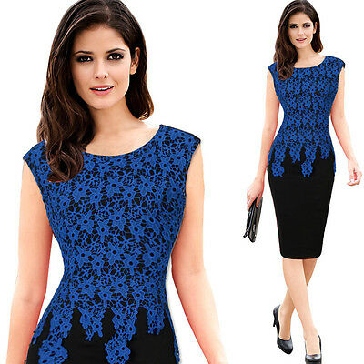 Fashion Womens Plus Size Lace Patchwork Work Wear Cocktail Party Pencil Dresses