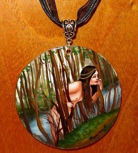 Pendant-Shell-Russian-ART-Hand-painted-John-William-Waterhouse-Naiad-water-nymph