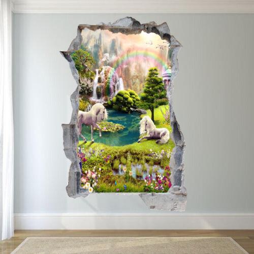ENCHANTED RAINBOW UNICORNS WALL STICKERS 3D ART MURALS NURSERY HOME DECOR UW6