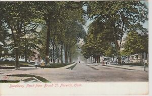 Vintage-POSTCARD-BROADWAY-NORTH-FROM-BROAD-STREET-IN-NORWICH-CONNECTICUT
