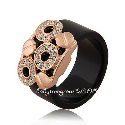 Cool 18K Rose Gold GP Clear  Crystal Black Fashion ring 485