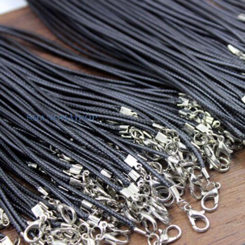 10 X Cordón Soga Trenzada Torsión Cadena Collar Para Langosta Broche de imitación de cuero negro