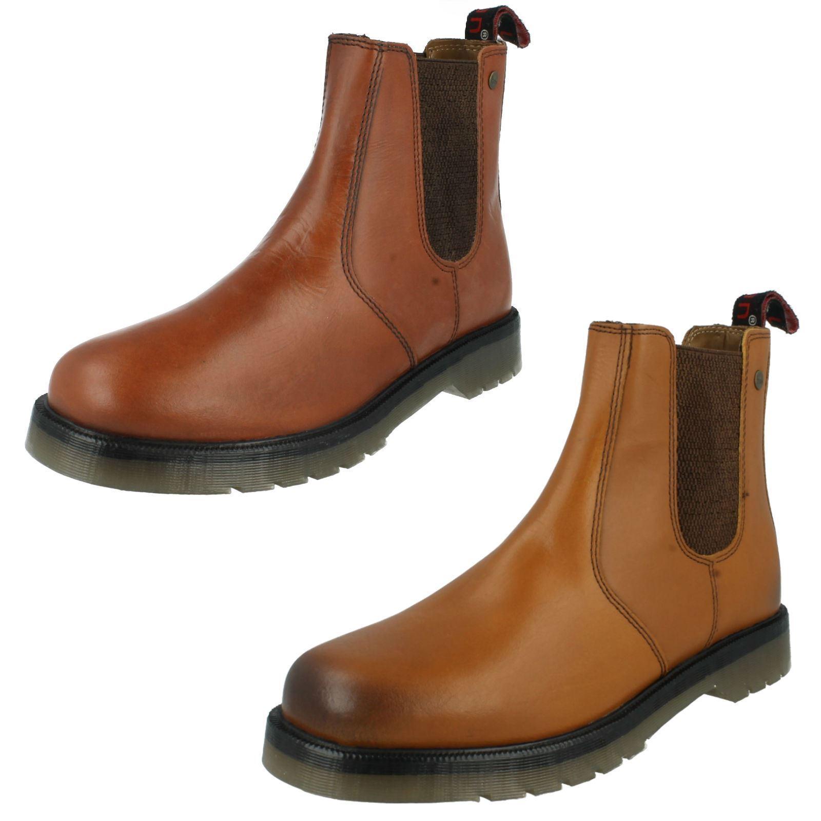 Mens HX London Leather Dealer Chelsea Boots HX01