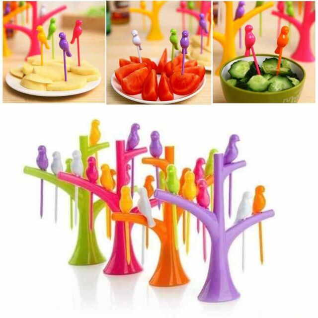 6Pcs Bird Style Fruit Forks Pickers With Tree Shape Holder Party Bento Dessert