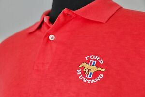 Vintage-Official-Ford-Brand-Mustang-Polo-Shirt-XL-Red-Muscle-Cars-Automotive