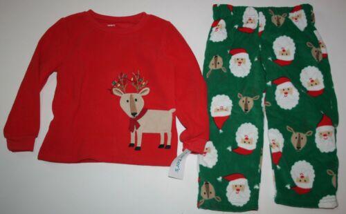 NEW Carter/'s 6 10 12 14 year Boys 2 Piece Fleece PJs Pajamas Reindeer Santa Face