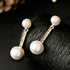 Pearly Double-Drop Earring Post Gold Pewter Stems Bar Brand Jewelry Everyday Use
