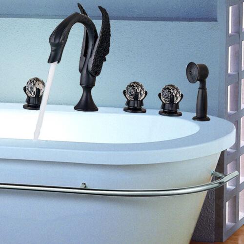 Modern Oil Rubbed Bronze Swan Spout Bathroom Tub Faucet W// Hand Shower Mixer Tap