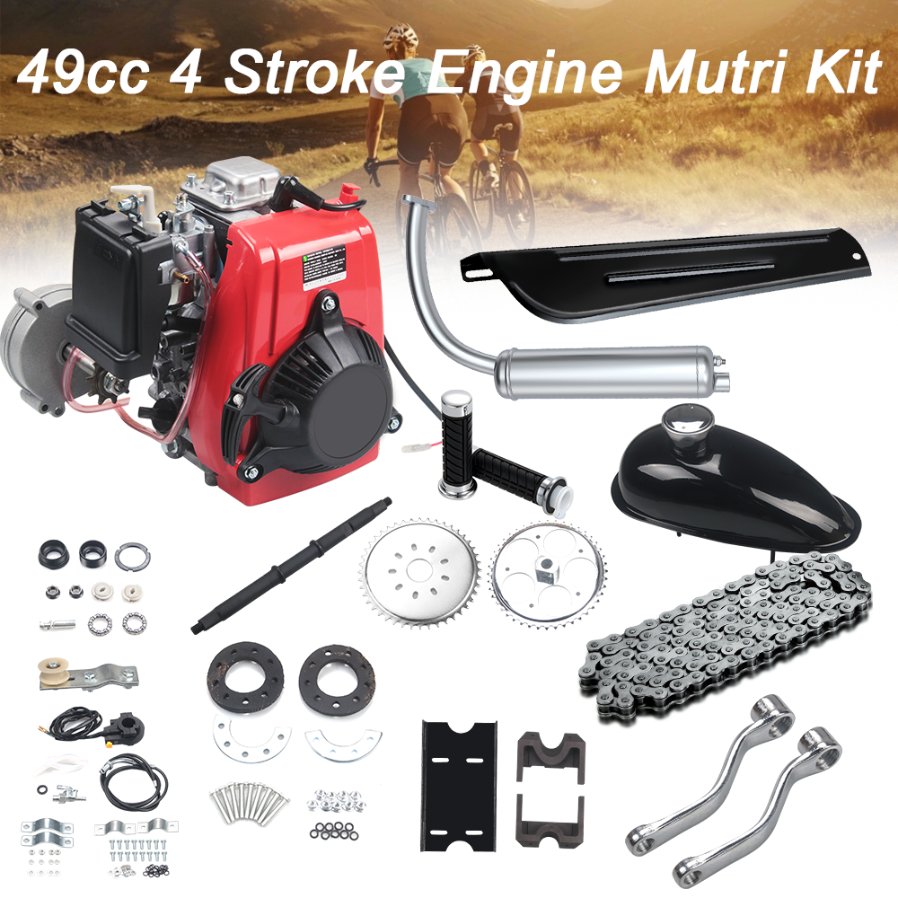 49CC 4 Stroke Gas Petrol DIY Motorized Bicycle Bike Engine Motor Kit Scooter with 26 inch Frames