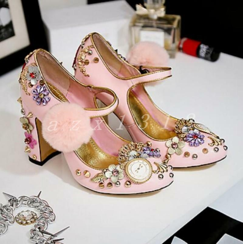 Womens Rhinestone Floral Rivet Shoes Chunky Leather High Heel Pumps Leather Chunky Mary Jane ae9840