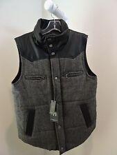 NWT-$160 American Stitch 100% Polyester Black & Gray W/Faux Leather Vest -  Sz-M