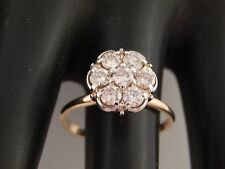 Large .98 tcw Diamond Flower Illusion Cluster Ring Vintage 14k Gold H/VS Estate