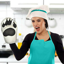 2Pcs Kitchen Cooking BBQ Oven Mitts Thicken Cute Bear Print Paws Oven Gloves