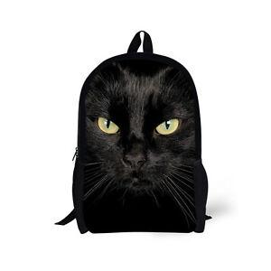 Image is loading School-Bag-Teenager-Girls-Black-Cat-Rucksack-Backpack- 25f9d4d699